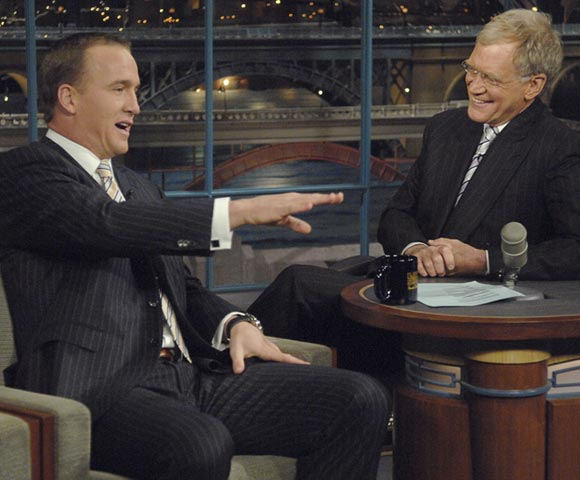 Peyton Manning passed on going to Disney World, but he didn't turn down appearing on the Late Show with David Letterman.