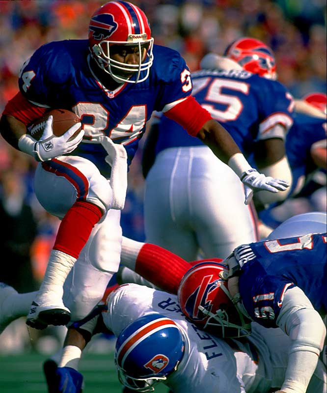 Only Emmitt Smith and Barry Sanders ran for more yards in the 1990s. ... One of only three running backs (Walter Payton and Marcus Allen) to have over 400 receptions and 10,000 yards rushing. ... Played in six AFC title games and four Super Bowls. ... Set playoff records for career points (126), touchdowns (21), and consecutive games with a TD (9). ... Selected to play in five consecutive Pro Bowls.