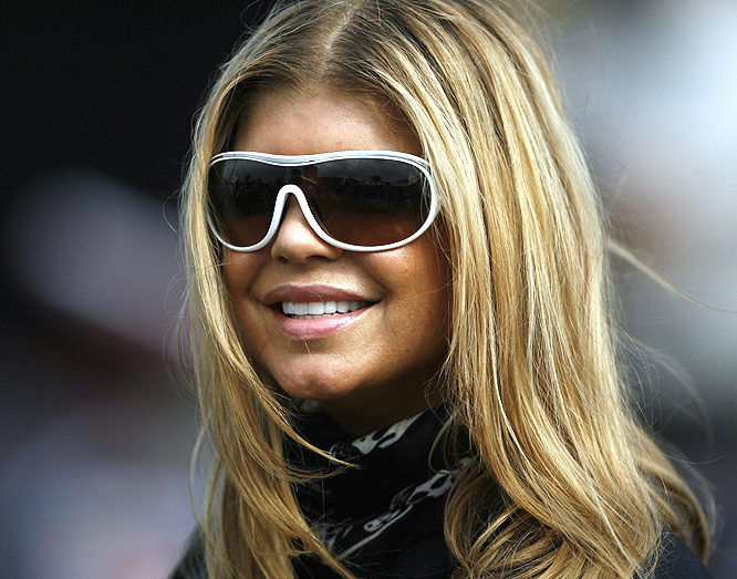 """Fergie has her """"game face"""" on prior to the race."""