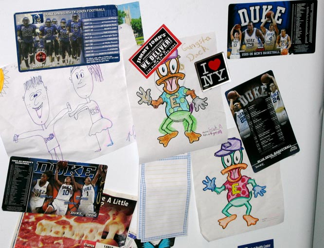 """These were given to Alison, not by her tiny-tot cousins.  Not by little Duke fans.  Nope.  """"All of mine are from full-grown people,"""" she admitted.  """"The one on the left (of the Duke and UNC figurines), Monique Currie gave that to me."""""""