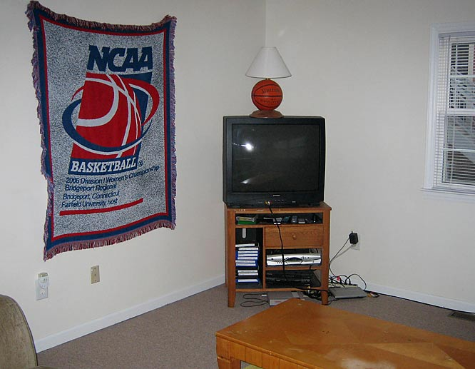 This is where the ladies enjoy their favorite show --  Grey's Anatomy -- every Thursday night (except  game days). The basketball lamp was handcrafted by Bales and her father during her sophomore year of high school.