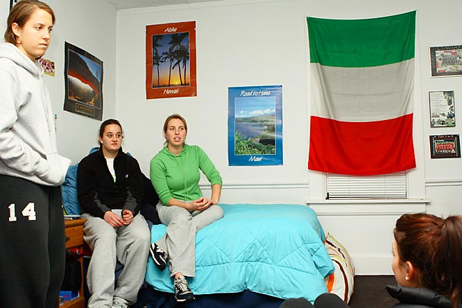 Welcome to the off-campus apartment of Northwestern lacrosse players Lindsay Finocchiaro (whose room is seen here), Aly Josephs, Kristen Kjellman, Hannah Nielsen, Emily Lovett and Kristen Beoge.