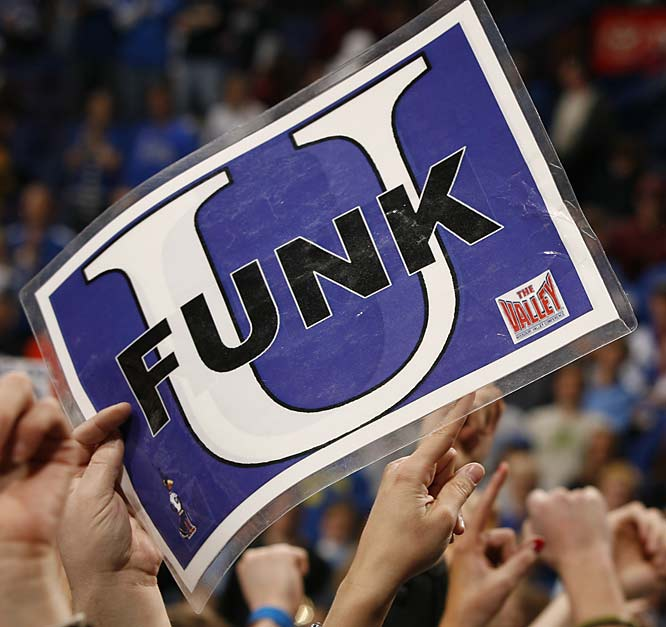 Creighton did indeed become Funk U. after Nate Funk's 19 points led the Bluejays past Wichita State, 67-61, and into the NCAA Tournament.