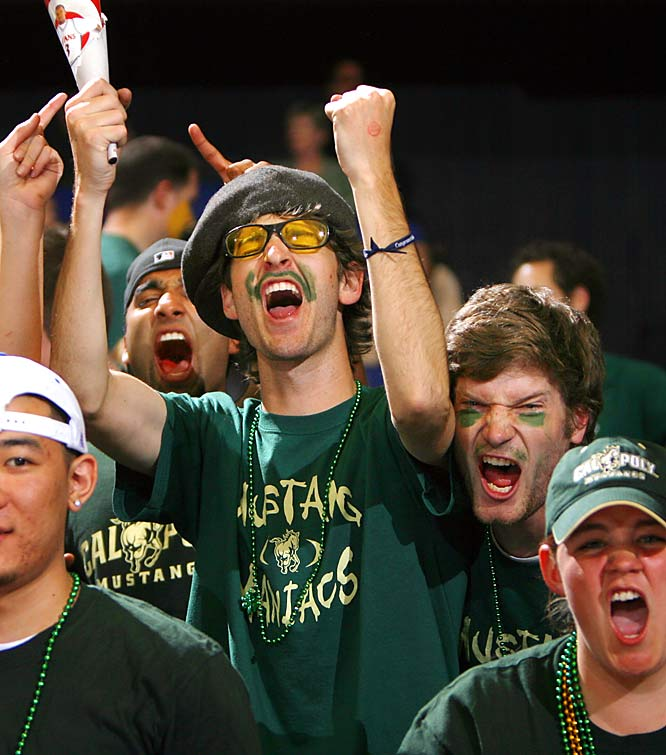 Cal Poly fans cheer before the Mustangs' game against Cal State Fullerton in the Big West  tournament semifinals on Friday.