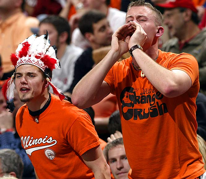 Illinois fans voice their opinion on a referee's call during the first half of the Big Ten quarterfinals against Indiana.