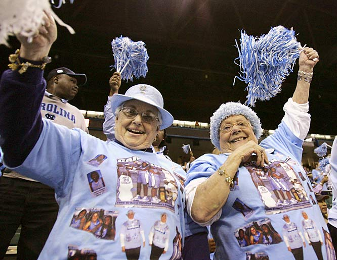 North Carolina fans Juanita Floyd,76, and Betty Blackman, 74, cheer before the start of the regional semifinal basketball game between UNC and George Washington at the NCAA Women's tournament on Sunday.