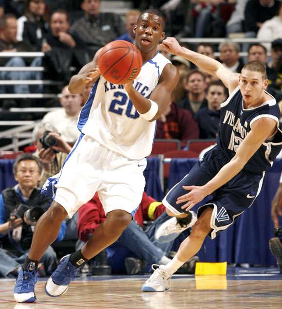 Jodie Meeks (20) had 12 points, one of four Kentucky players to score in double figures as UK advanced to the second round for the 16th straight year.