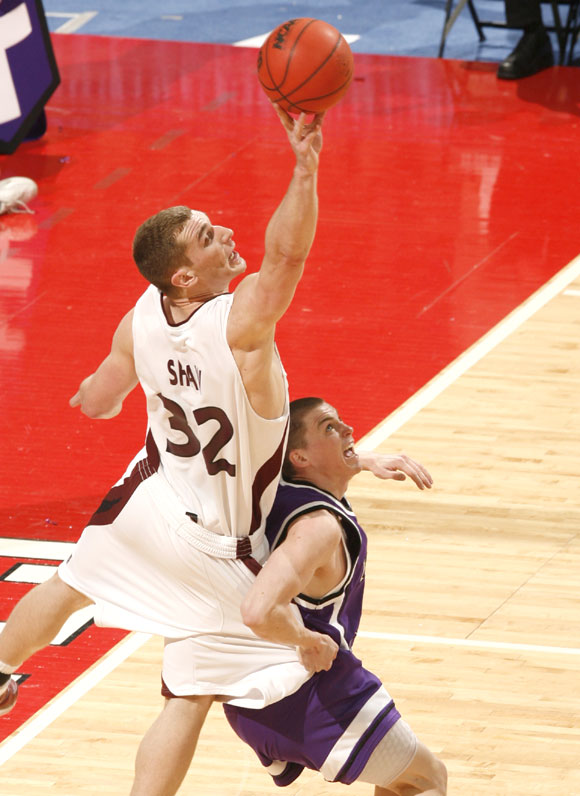 Matt Shaw injured his left ankle in the closing seconds of the first half, finishing with 11 points and five rebounds.