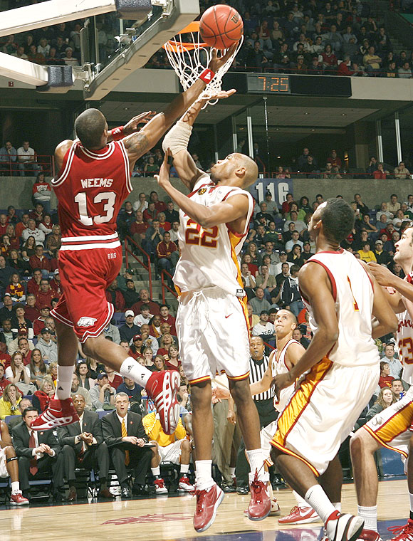 Sonny Weems (13) had 13 points but the Razorbacks couldn't match Taj Gibson (22), who had 18 points and eight rebounds in the win.
