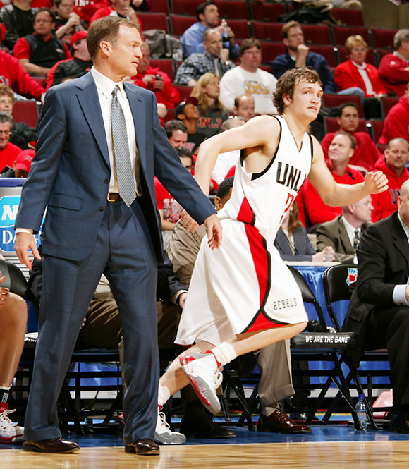 Under the guidance of his father, Lon, Kevin Kruger scored 13 points for UNLV.