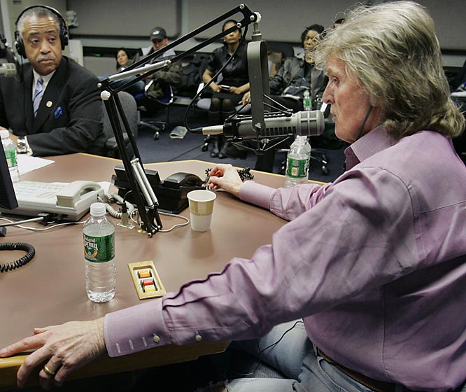 "Don Imus after calling the Rutgers women's basketball players a bunch of ''nappy-headed hos.''  ""Our agenda is to be funny and sometimes we go too far. And this time we went way too far."""