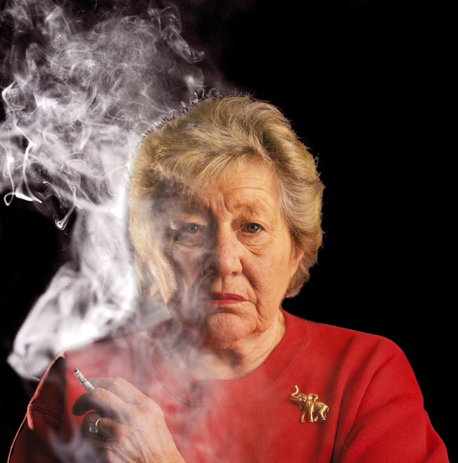"Frakes' take:<br><br> ""I took this photo of the late Reds owner Marge Schott in May 1996. I needed a serious look for a cover portrait. She gave it to me.""<br><br> Shot with a Canon EOS."