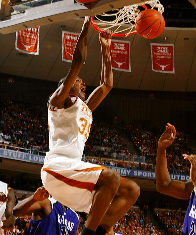 Kevin Durant, F, Texas<br>6-10, Fr.<br><br>He may only be a freshman, but there's little doubt that Durant is the nation's most explosive player. With the ability to shoot the three, drive to the basket and score inside, Durant carried to baby Longhorns to a 22-8 record by averaging 28.9 points in Big 12 play and 25.1 overall. He also had a league-high nine 30-point games. He was named Big 12 Freshman and Player of the Year.