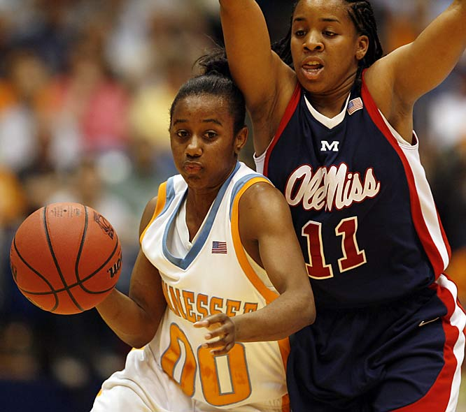 Lady Vols guard Shannon Bobbitt drives against Mississippi's Shantell Black. Bobbitt had 14 points in the game.