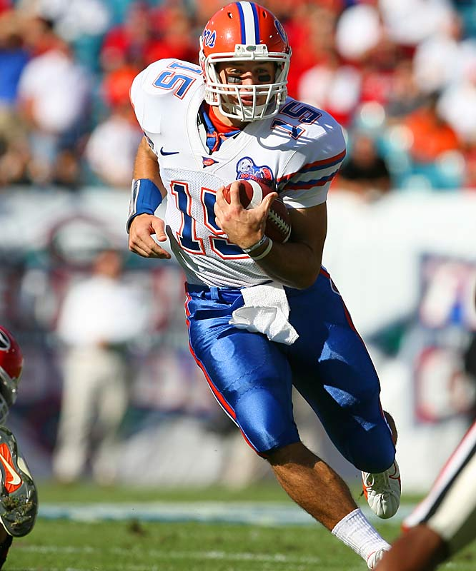 In Gainesville, Tim Tebow (pictured) will be preparing to fully take the reins of Florida's offense. In Coral Gables, Kyle Wright and Kirby Freeman will battle it out for the starting spot. And in Tallahassee, new offensive coordinator Jimbo Fisher will try to help the 'Noles' underachieving duo (Drew Weatherford and Xavier Lee).