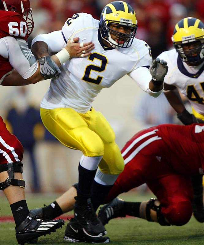 The Wolverines lost seven starters off a unit that led the nation in rushing defense, including standouts Alan Branch, LaMarr Woodley, Dave Harris and Leon Hall. Needless to say, spring practice should be competitive in Ann Arbor.  At least Shawn Crable (pictured), team leader in tackles last season, will return.