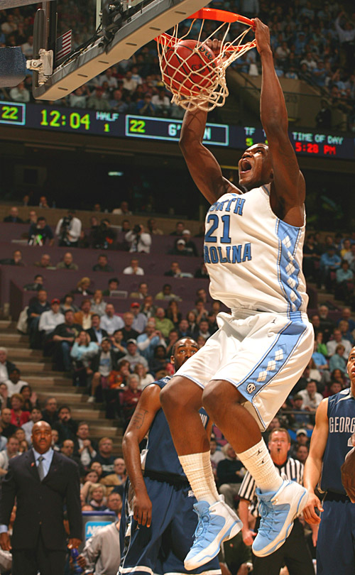 Deon Thompson scored 14 points for the Tar Heels, who scored just three points in the overtime.