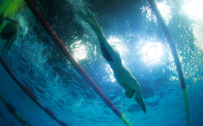 A down-under view of Michael Phelps en route to a victory in the Mens 200M Individual Medley in Melbourne, Australia.