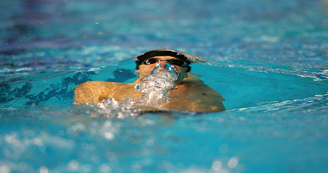 Michael Phelps swimming to victory in Melbourne in the Mens 200M Individual Medley.