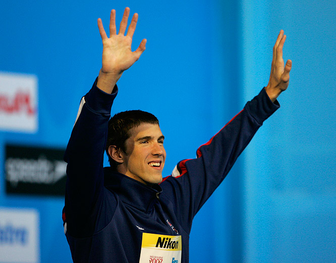 Michael Phelps acknowledging the fans as he celebrates his world record and victory in the 200M Individual Medley in Melbourne.