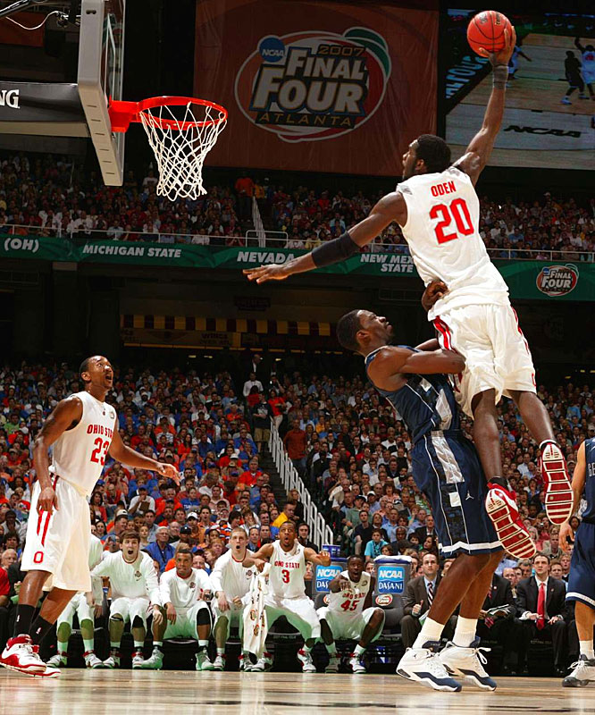 Greg Oden is fouled as he goes up for a dunk in the second half. Oden missed the dunk, but still finished with 13 points to lead Ohio State to the championship game.