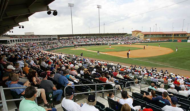 The Astros and Marlins play in front of a packed stadium at Osceola County in Kissimmee, Fla., on March 15.