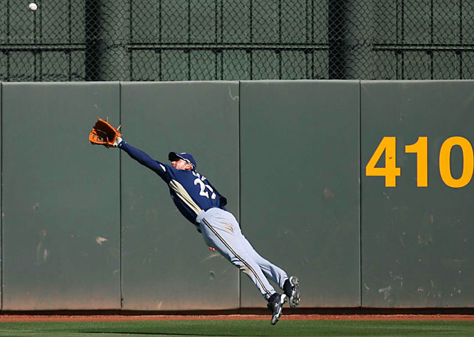 Center fielder Brady Clark dives -- and just misses -- in an attempt to make a highlight-reel grab.