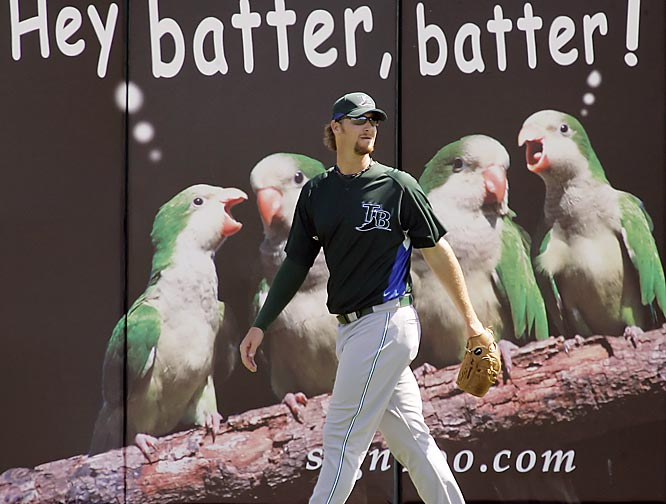 Pitcher Jeff Niemann ignores some other birds attempting to distract the players.
