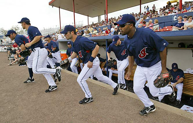 (Left to right) Ryan Garko, Grady Sizemore, David Dellucci, Jake Westbrook, and Josh Barfield run onto the field for their first Grapefruit League game March 1 against the Astros.