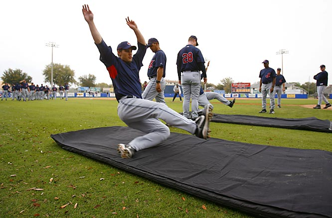 Spring training can be boring, which is why the Slip 'n Slide always comes in handy