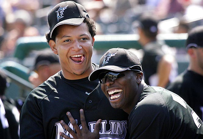 All-Stars Miguel Cabrera and Willis share a laugh.
