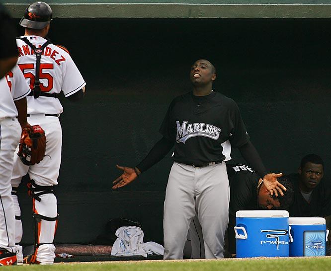 Willis and Orioles catcher Ramon Hernandez get into it.