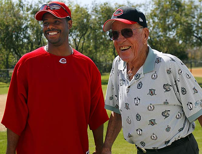 The old left-hander, Joe Nuxhall, pays Griffey and the Reds a visit.