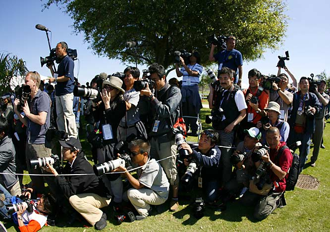 Photographers from the world over cover Matsuzaka's every move.