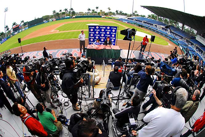 The fish bowl: Matsuzaka meets the press at City of Palms Park in Fort Myers, Fla.