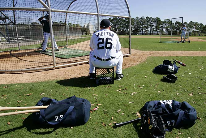 Roster hopeful Chris Shelton waits his turn in the batting cage.