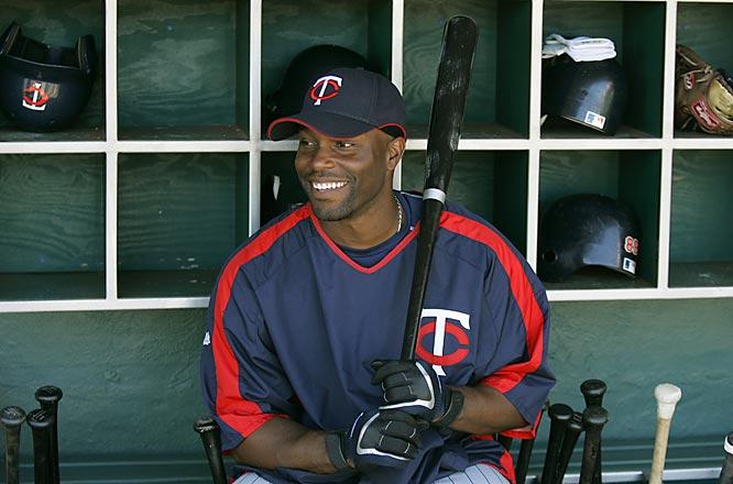 Center fielder Torii Hunter has the dugout all to himself.