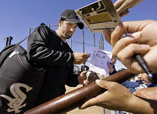 Paul Konerko autographs anything for the fans; balls, bats, cards, stat sheets, you name it.