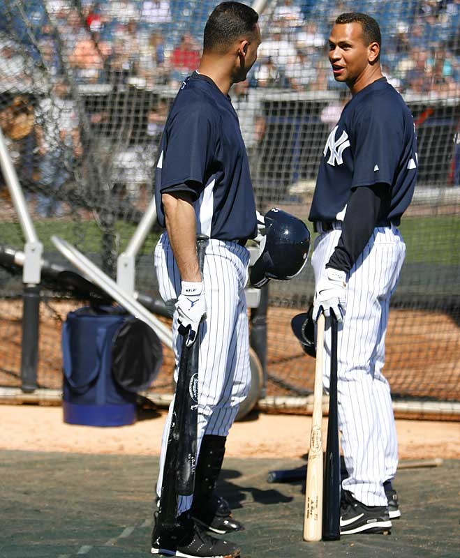 Breaking news: Alex Rodriguez and Derek Jeter have a friendly chat during batting practice.