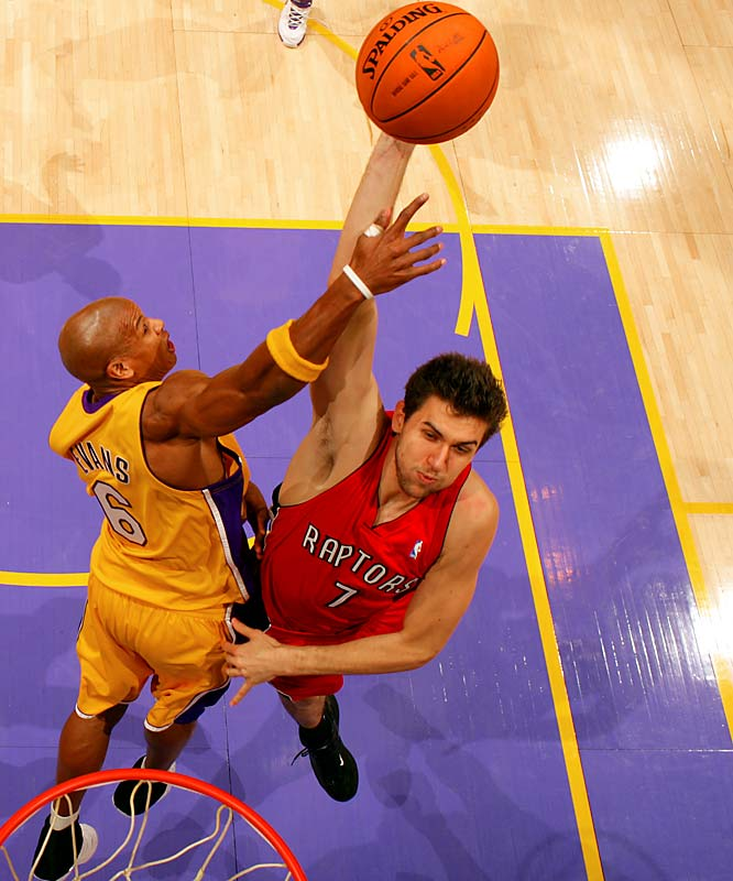 After a slow start -- he averaged only 16 minutes through the first month of the season -- the top pick in the 2006 draft has emerged to anchor a productive Raptors bench that also includes promising point guard Jose Calderon and recently acquired guard Juan Dixon. Bargnani won Rookie of the Month honors in February after averaging 14.3 points on 50.8 percent shooting in 12 games. He had an appendectomy on March 21 and is out indefinitely.