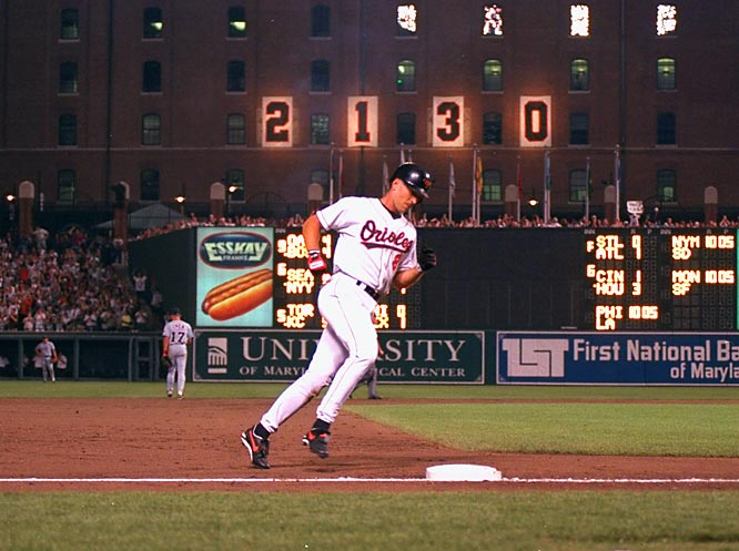 Orioles Park was a festival scene with fireworks, balloons, streamers, flashbulbs, bunting, and President Clinton and Vice President Gore on hand as Baltimore's iron man shortstop surpassed a mark no one thought could be broken: Lou Gehrig's 2,130 consecutive games played.
