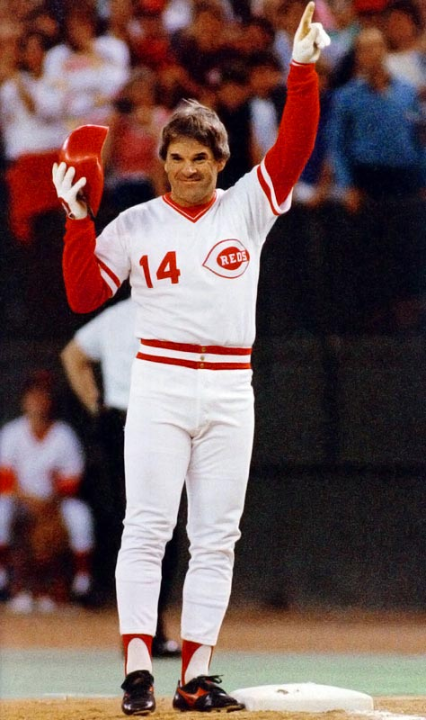Cincinnati's beloved Charlie Hustle lashed a first-inning single to left field off Padres hurler Eric Show, breaking Ty Cobb's career mark of 4,191 hits. The resulting ovation lasted seven minutes and left the usually combative Rose in tears.