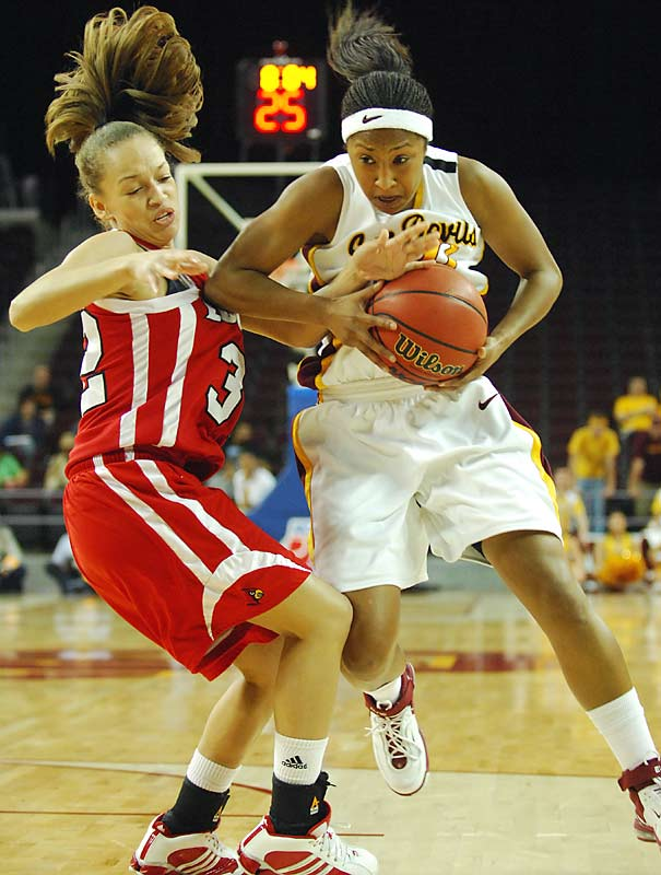 Arizona State's Brainn January and Louisville's Kala Faulkner find themselves tangled up in the Sun Devils 67-58 second-round victory over the Cardinals.