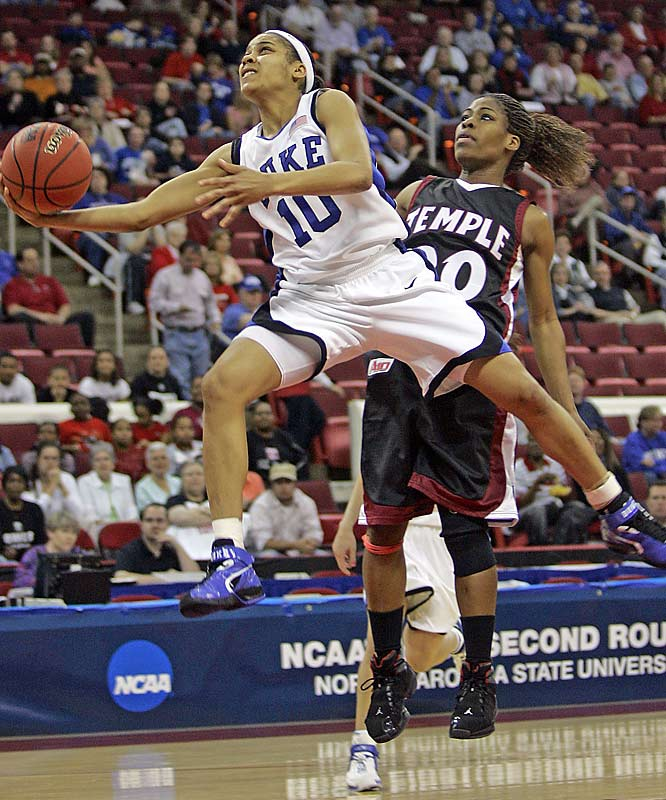 Duke's Lindsey Harding drives past Temple's Fatima Maddox during the Blue Devils' second-round victory over the Owls.