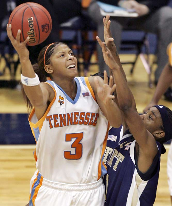 Candace Parker squeezes a shot off during a second-round matchup against Pitt. The Vols would go onto win the game, 68-54, to advance to the Sweet 16.