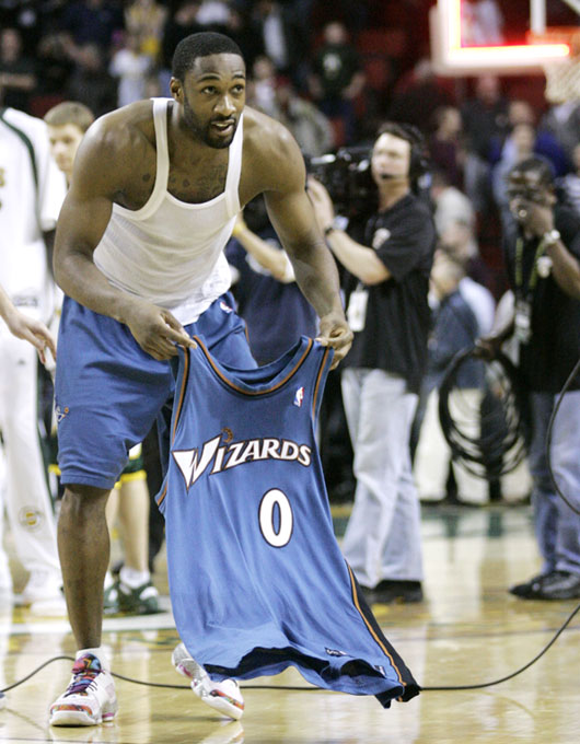 After hitting a game-winning shot earlier this week against the Sonics, the Wizards' Gilbert Arenas decided to leave his jersey on the court so fans would come running after it. The only problem was that the game was in Seattle and there were no takers.