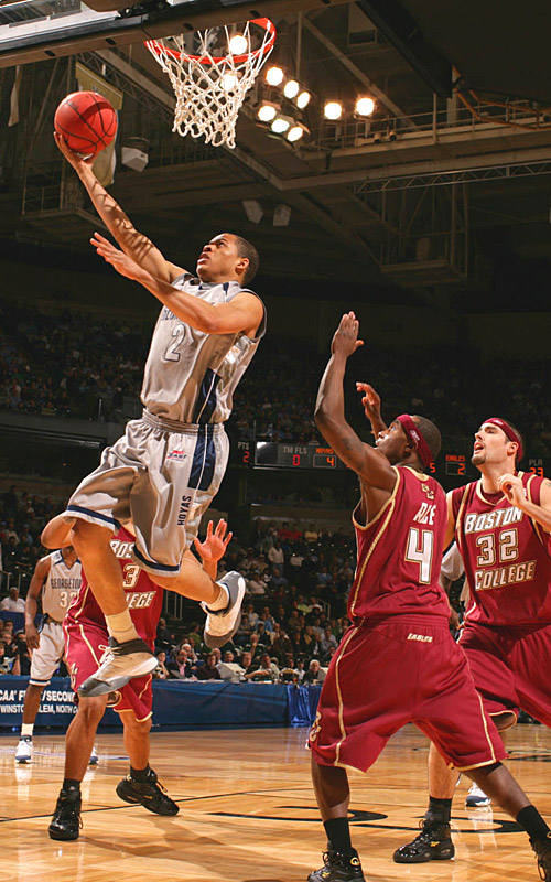 Jonathan Wallace had 15 points and hit five of six shots to help the Hoyas into the Sweet 16.