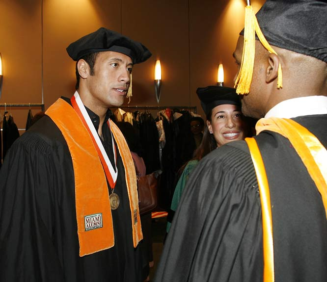 "Dwayne ""The Rock"" Johnson, shown here getting his degree from Miami last December, was a defensive tackle for the Hurricanes, playing alongside Warren Sapp and Ray Lewis."