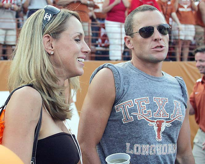 Texas native Lance Armstrong (seen here with former wife, Kristin) is a fixture at Longhorn games and the biggest UT fan this side of Matthew McConaughey.