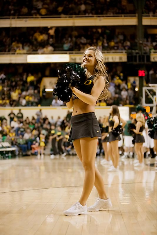 """Meet Valorie, a senior Political Science major and proud member of the Ducks cheer squad. Off the field, she likes to wakeboard and is """"obsessed with making to-do lists."""" Wanna find out more about Valorie? Click on the 20 Questions link below."""